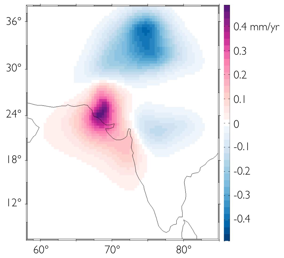 Modeled rates of sea level change